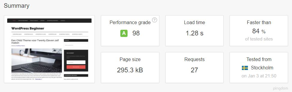WPBeginner Website Hosting speed test